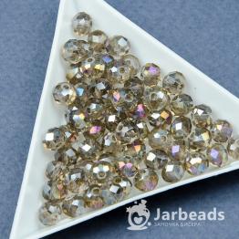 Бусины-кристаллы рондель 6*8мм серый прозрачный с отливом 10штук арт.5478