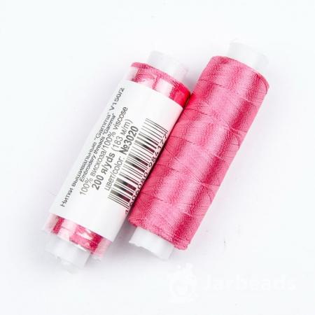 Нитки Вискоза 100% для вышивки и кистей 183м (фуксия) №3020