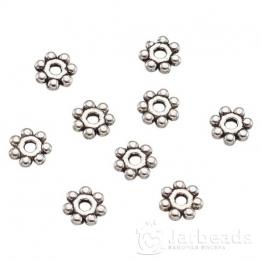 Разделители для бусин Диск 7 шариков 4,5мм (серебро) 10шт TIBE-TA0001-05AS-B