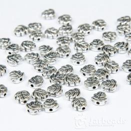 Разделители для бусин Листочки 7мм (серебро) 10шт.