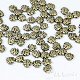 Разделители для бусин Листочки 7мм (бронза) 10шт.
