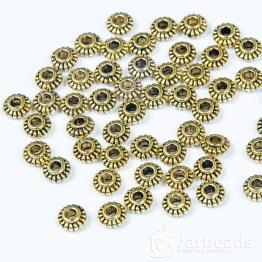 Разделители для бусин Диски с полоской 6мм (золото) 10шт.
