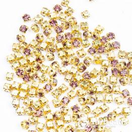 Стразы в золотых цапах 3мм (аметист) 100 штук