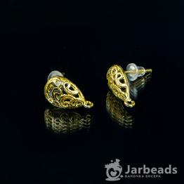 Швензы-гвоздики Ажурная капля 13*15мм (золото)