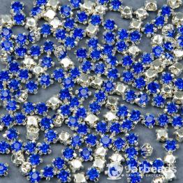Стразы в цапах 4мм (синий) 100 штук