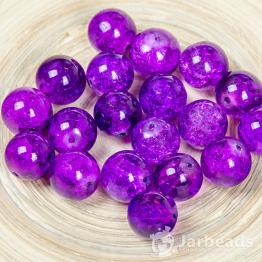 Бусины стеклянные кракле 12мм (фиолетовый) 10шт