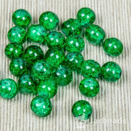 Бусины стеклянные кракле 10мм (зеленый) 10штук