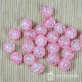 Бусины стеклянные кракле 10мм (розовый) 10штук