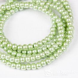 Бусины на нити Жемчуг пластиковый 4мм 200шт (жемчужно зеленый)
