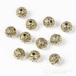 Бусина металлическая круглая Кружочки 8мм (золото)