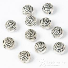 Бусина металлическая Шарик приплюснутый с розой 8*10мм (серебро)