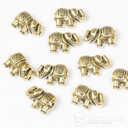 Бусина металлическая Слоник 9*13мм (золото)