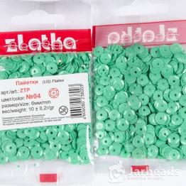 Пайетки круглые глянцевые с гранями 6мм (светло зеленый) 10гр ZTP №04