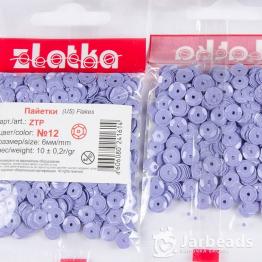 Пайетки круглые глянцевые с гранями 6мм (фиолетовый) 10гр ZTP №12