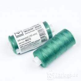 Нитки Джинсовые Полиэстер 20s/2 MICRON намотка 183м (зеленый) №215