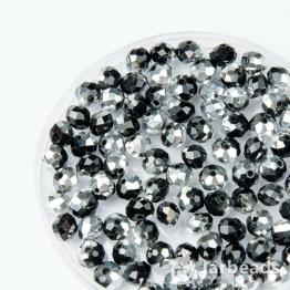 Кристаллы рондель 6*8мм черный с серебром 10штук
