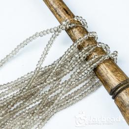 Бусины-кристаллы рондель 1,5*2мм серый светлый прозрачный 195штук