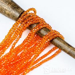 Кристаллы рондель 3*4мм оранжевый прозрачный 140штук арт.67