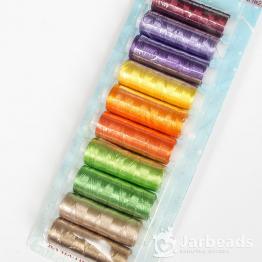 Набор ниток №2 для вышивки и кистей 10 цветов 183м*10штук