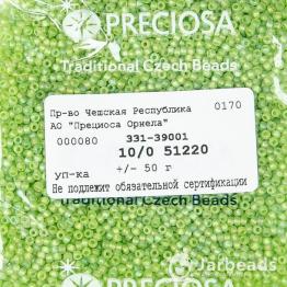 Бисер PRECIOSA 10/0 (50гр) 1сорт зеленый прозрачный матовый арт.51220m