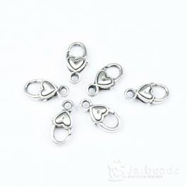 Замочек лобстер большой Сердечко 17*9*5мм (серебро)