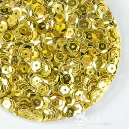 Пайетки круглые металлик с гранями 6мм (желтый) 10гр ZC №02