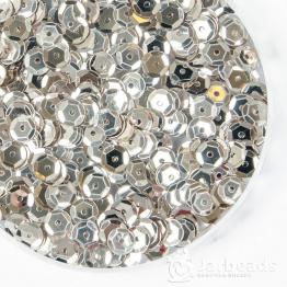 Пайетки круглые металлик с гранями 6мм (белое серебро) 10гр ZC №65