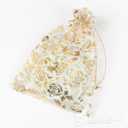 Мешочки из органзы Розы 15*20см (белые)