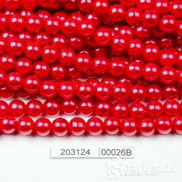 Бусины на нити Жемчуг пластиковый 8мм 100шт (красный клюквенный) арт.00026В