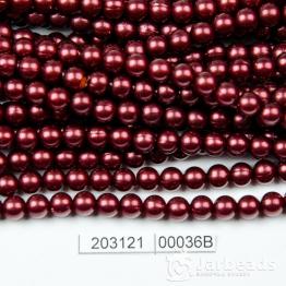 Бусины на нити Жемчуг пластиковый 6мм 140шт (гранат темный) арт.00036В