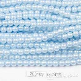 Бусины на нити Жемчуг пластиковый 6мм 140шт (голубой светлый) арт.00047В