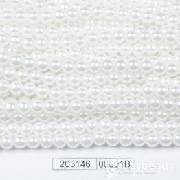 Бусины на нити Жемчуг пластиковый 6мм 140шт (белый) арт.00001В