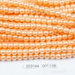 Бусины на нити Жемчуг пластиковый 6мм 140шт (персиковый темный) арт.00011В