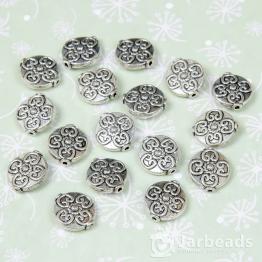 Бусина металлическая плоский круг 3*14мм (серебро)