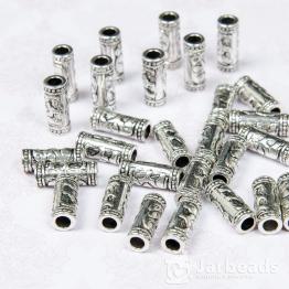 Бусина металлическая трубочка Слоник 7*16мм (серебро)