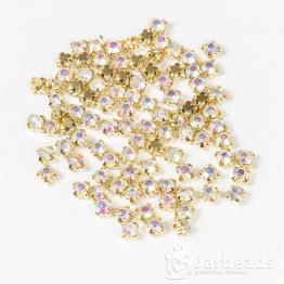 Стразы в золотых цапах 3мм (хрусталь радуга) 100 штук