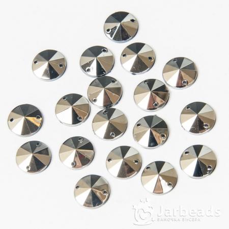 Стразы пришивные круглые 10мм (серебро) 10 штук