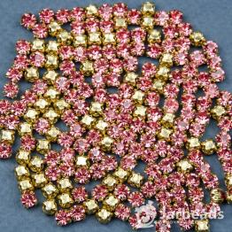 Стразы в золотых цапах 4мм (розовый) 100шт