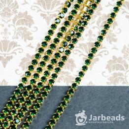 Стразовая цепочка золотая 3мм ss12 (зеленый) отрезок 10см