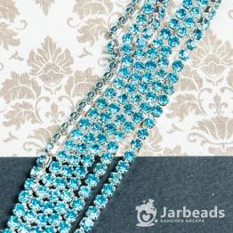 Стразовая цепочка серебряная 3мм ss12 (голубой) отрезок 10см