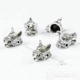 Бусина металлическая голова Волка 1,2*1,5*1см (серебро)