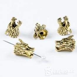 Бусина металлическая голова Дракона 9*1,5*0,8см (золото)