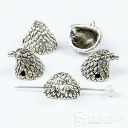 Бусина металлическая голова Орла 1*1,1*1,3см (серебро)