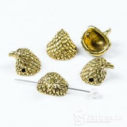 Бусина металлическая голова Орла 1*1,1*1,3см (золото)