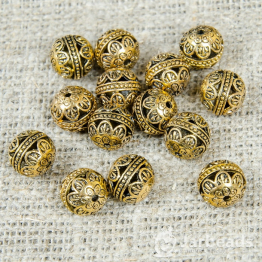 Бусина металлическая круглая Цветы 15мм (золото)