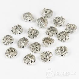 Бусина металлическая Львиная голова1,2*1,2см (серебро)