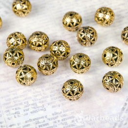 Бусина металлическая круглая Зиг-заг 15мм (золото)