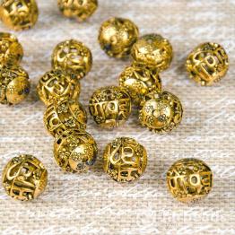 Бусина металлическая круглая Символ счастья 15мм (золото)