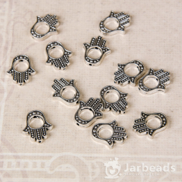 Бусина металлическая Ладошка 1,3*1,5см (серебро)