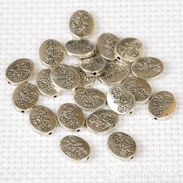 Бусина металлическая Цветок на овале 1,2*1,4см (серебро)